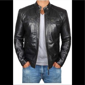 💼 Real Leather bomber men black jacket new